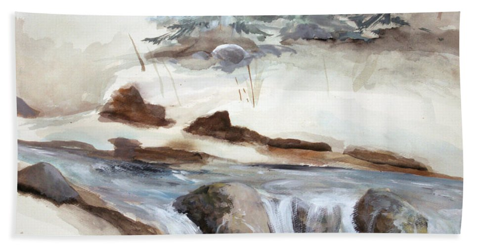 Rick Huotari Bath Sheet featuring the painting Springtime by Rick Huotari