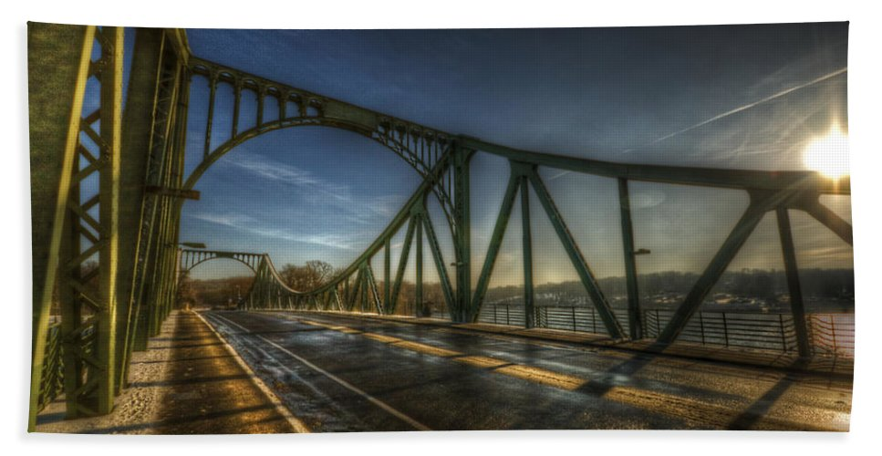 Agent Hand Towel featuring the digital art Spy Bridge by Nathan Wright