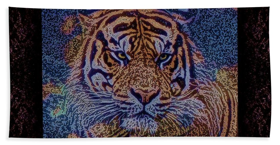 Tiger Bath Sheet featuring the photograph Sq Tiger Sat 6k X 6k Cranberry Wd2 by Dale Crum