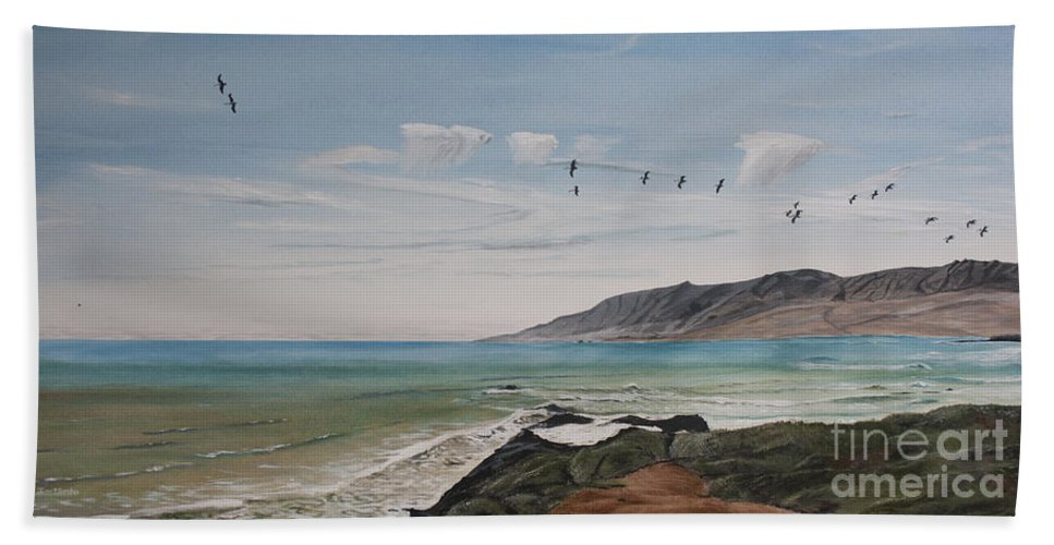 Pelican Hand Towel featuring the painting Squadron Of Pelicans Central Califonia by Ian Donley