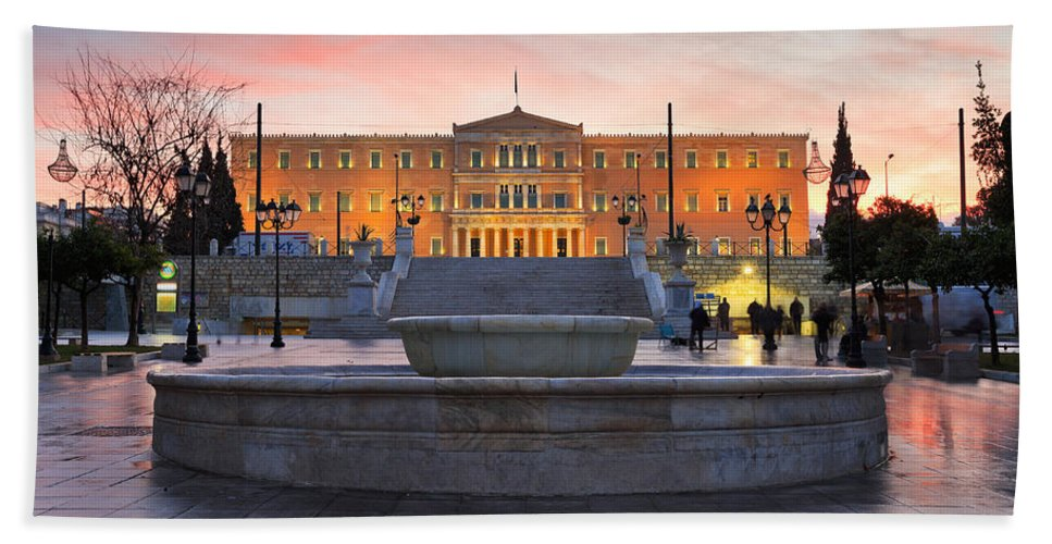 Parliament Bath Sheet featuring the photograph Square With A Fountain by Milan Gonda