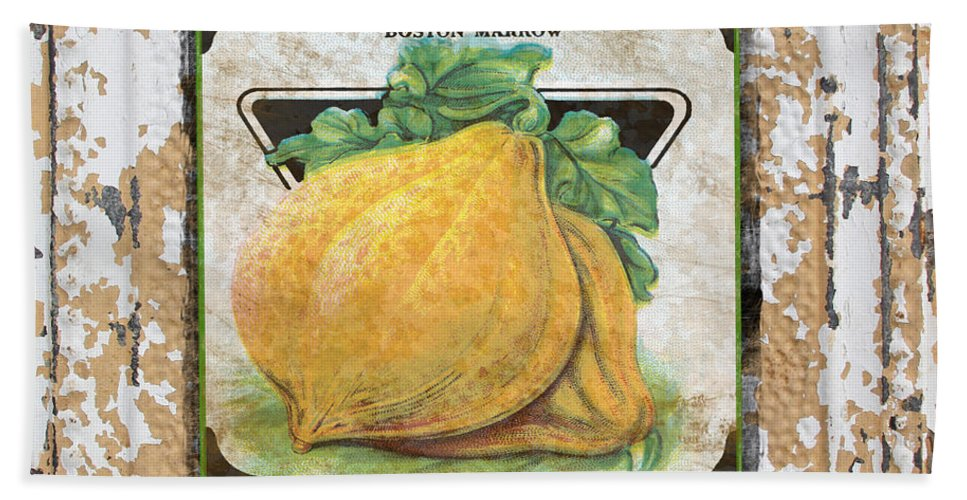 Beautiful Bath Sheet featuring the digital art Squash On Vintage Tin by Jean Plout