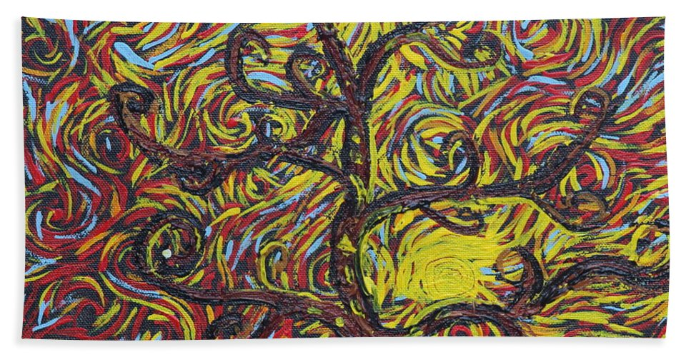 Squigglism Hand Towel featuring the painting Squiggling In The Wind by Stefan Duncan