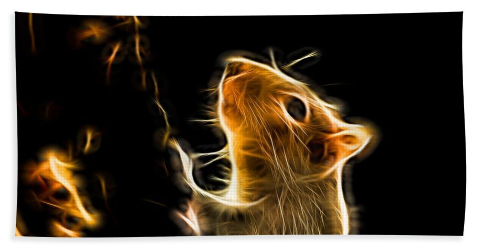 Squirrel Bath Sheet featuring the photograph Squirrel by Ron Harpham
