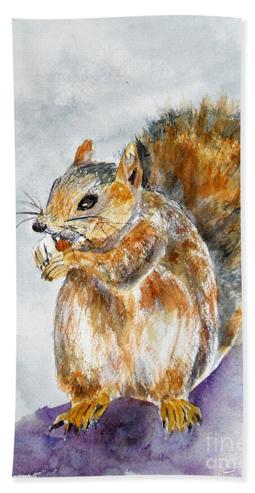 Squirrel Bath Sheet featuring the painting Squirrel With Nut by Vicki Housel