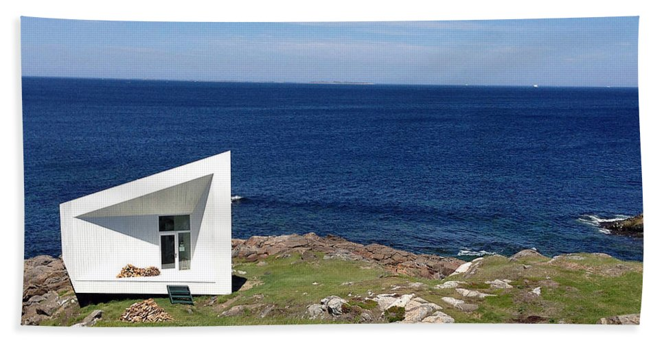 Squish Studio Tilting Fogo Island Newfoundland Hand Towel featuring the photograph Squish Studio Tilting Fogo Island Newfoundland by Lisa Phillips