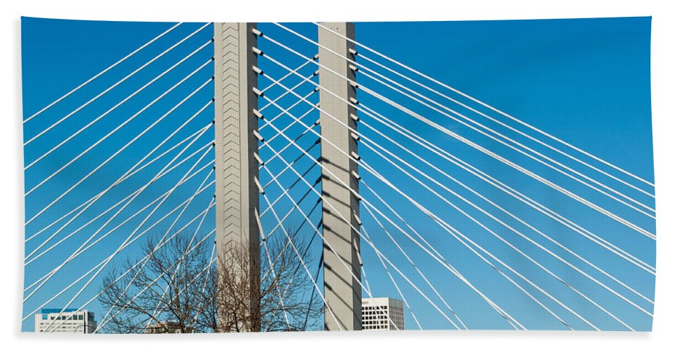 Modern Bath Sheet featuring the photograph Sr-509 Cable Stayed Bridge by Tikvah's Hope