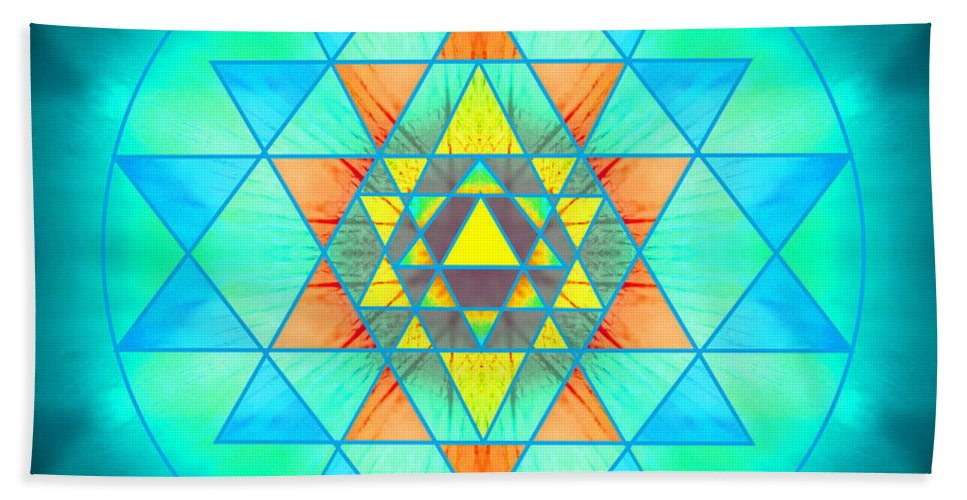 Blue Hand Towel featuring the photograph Sri Yantra Variation by Susan Bloom