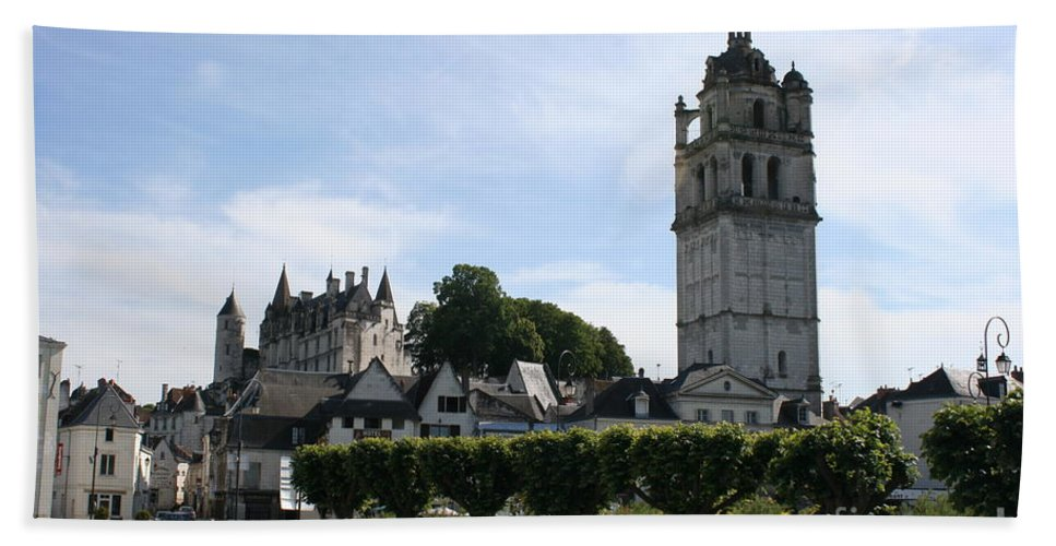 View Bath Sheet featuring the photograph St. Antoine Tower And The Chateau De Loches by Christiane Schulze Art And Photography