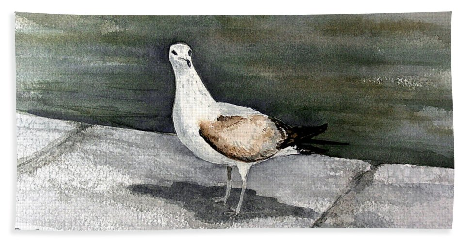 Bird Bath Sheet featuring the painting St Augustine Gull by Sam Sidders