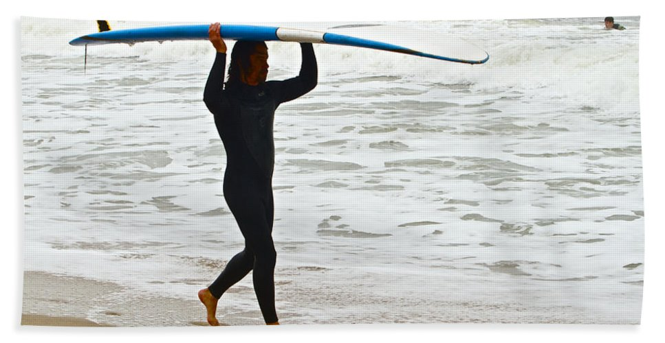 Surfer Ocean Waves St Augustine Bath Sheet featuring the photograph St Augustine Surfer Four by Alice Gipson