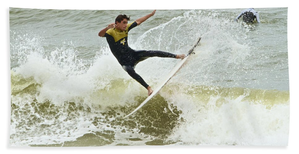 Surfer Florida St Augustine Ocean Waves Bath Sheet featuring the photograph St Augustine Surfer Two by Alice Gipson