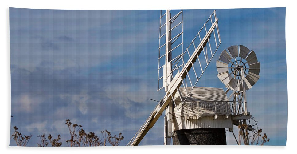 Travel Hand Towel featuring the photograph St Benets Drainage Mill Norfolk by Louise Heusinkveld