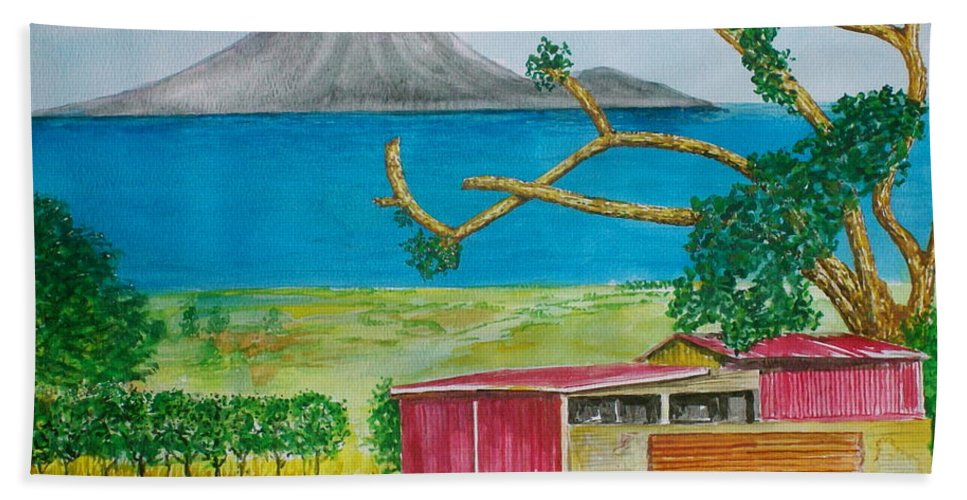 Caribbean St Eustatis St. Kitts Volcano Island Red Shed Slope Weird Trees Bath Sheet featuring the painting St. Eustatis From St. Kitts by Frank Hunter