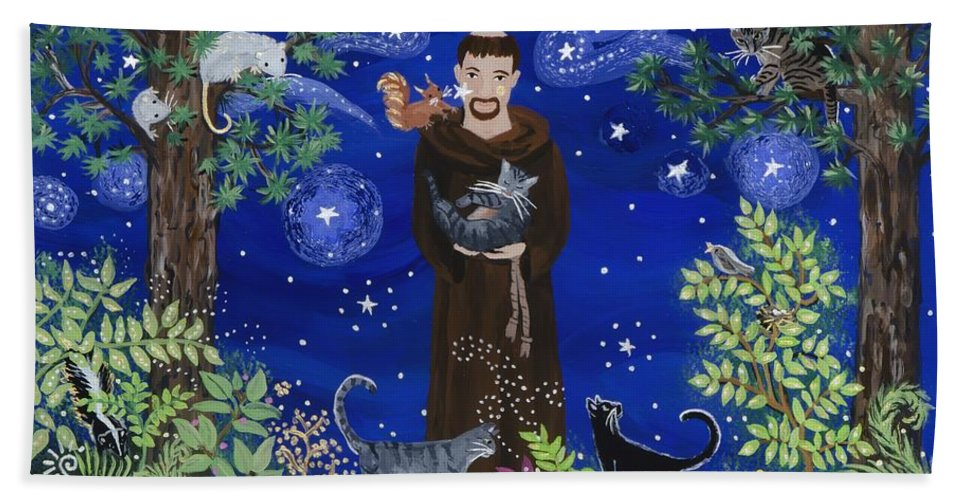 Sue Betanzos Hand Towel featuring the painting St. Francis And Spike by Sue Betanzos