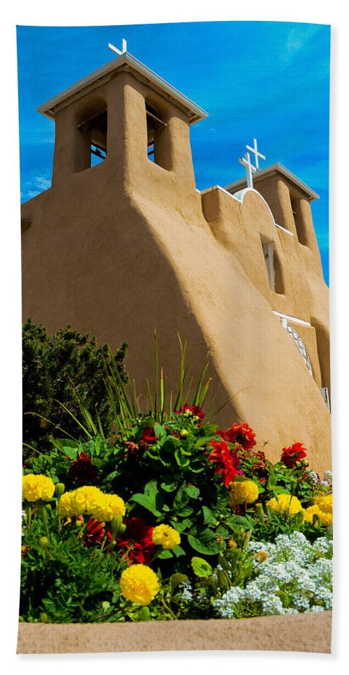 Catholic Mission Church Bath Sheet featuring the photograph St Francis D'asis Mission Church. Taos New Mexico by Jeff Black