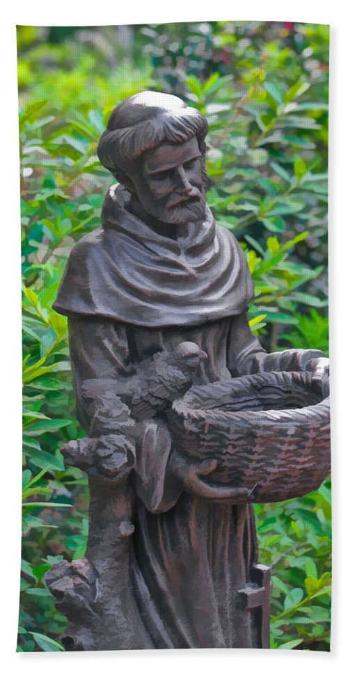 St Francis Of Assisi Garden Statute Hand Towel featuring the photograph St Francis Of Assisi Garden Statute by Ginger Wakem