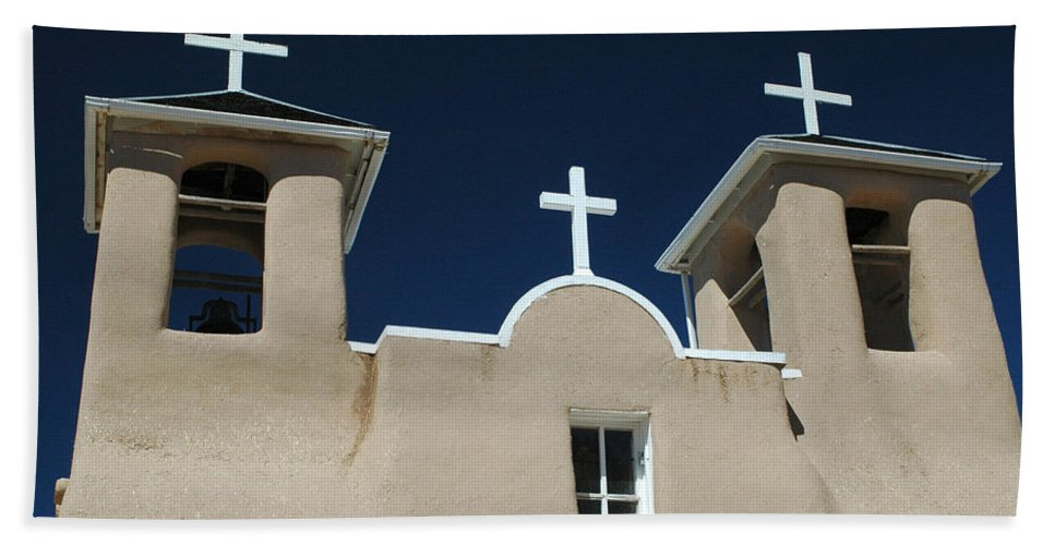 Taos Bath Sheet featuring the photograph St. Francis Taos by Michael Kirk