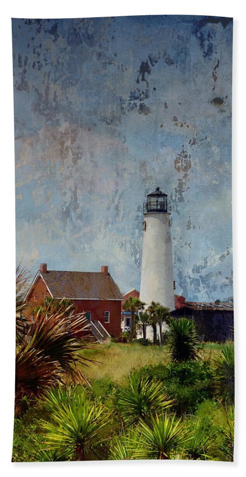 Lighthouse Hand Towel featuring the photograph St. George Island Historic Lighthouse by Carla Parris