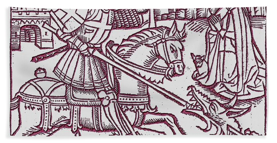 St. George Hand Towel featuring the digital art St. George - Woodcut by John Madison