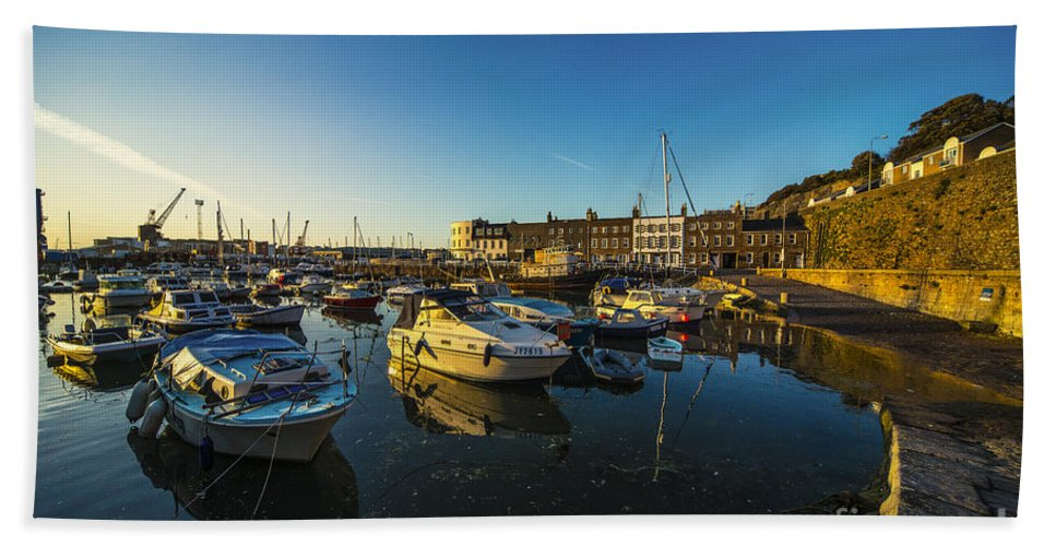 St Hand Towel featuring the photograph St Hellier Harbour by Rob Hawkins