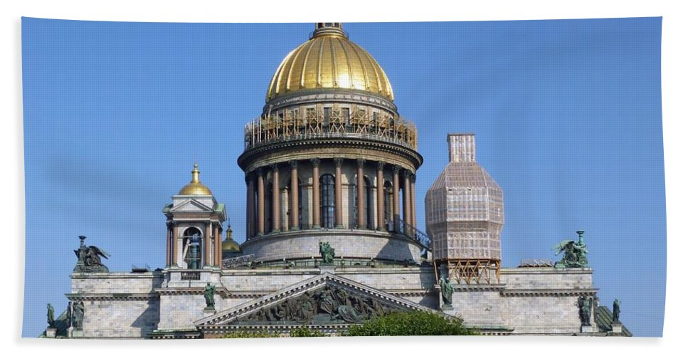 Saint Bath Sheet featuring the photograph St Isaacs Cathedral by FL collection
