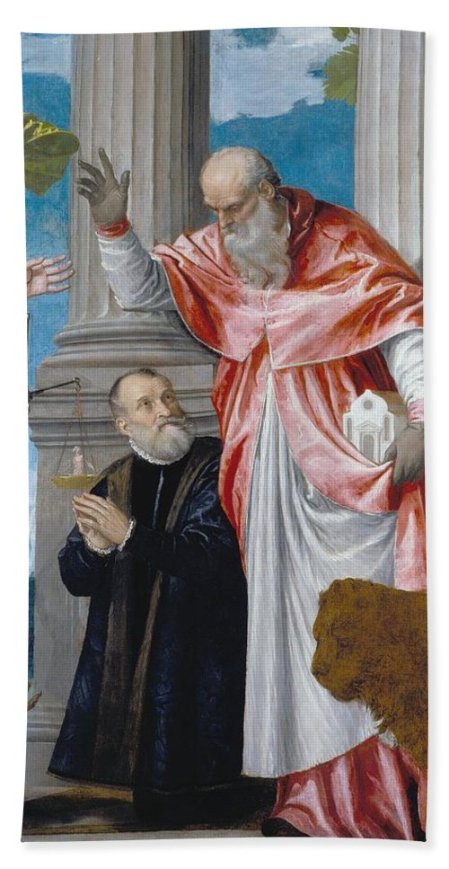 1563 Hand Towel featuring the painting St. Jerome And A Donor by Paolo Veronese