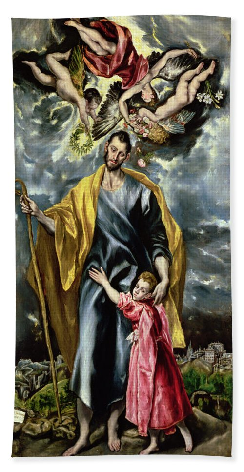 El Greco Hand Towel featuring the painting Saint Joseph And The Christ Child by El Greco