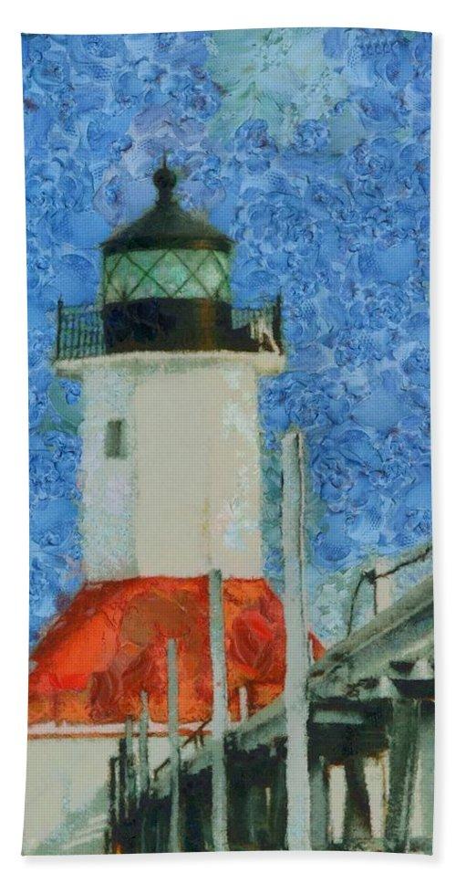 St Joseph Lighthouse Lake Michigan Hand Towel featuring the painting St. Joseph Lighthouse Lake Michigan by Dan Sproul