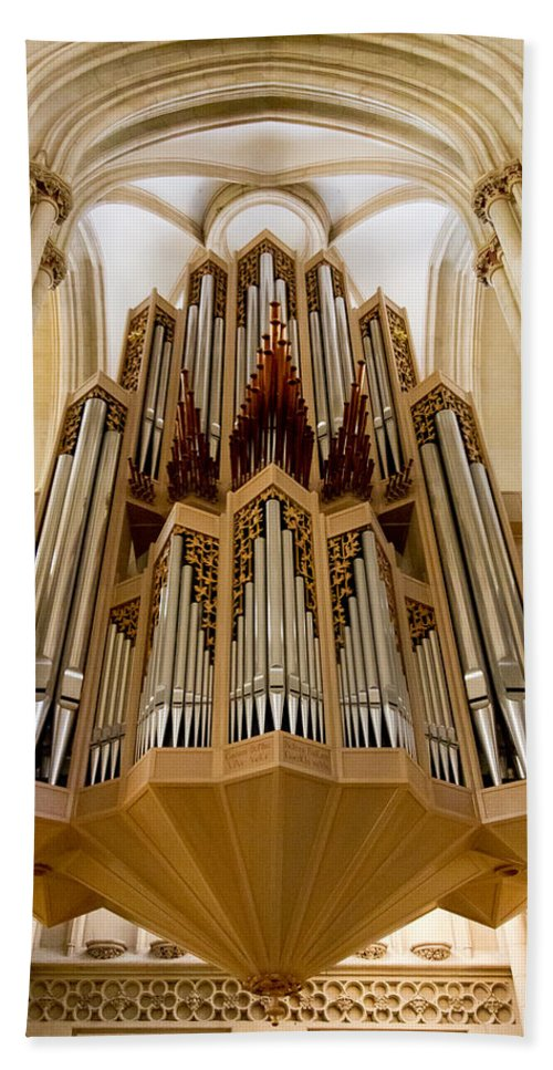 Germany Hand Towel featuring the photograph St Lambertus Organ by Jenny Setchell