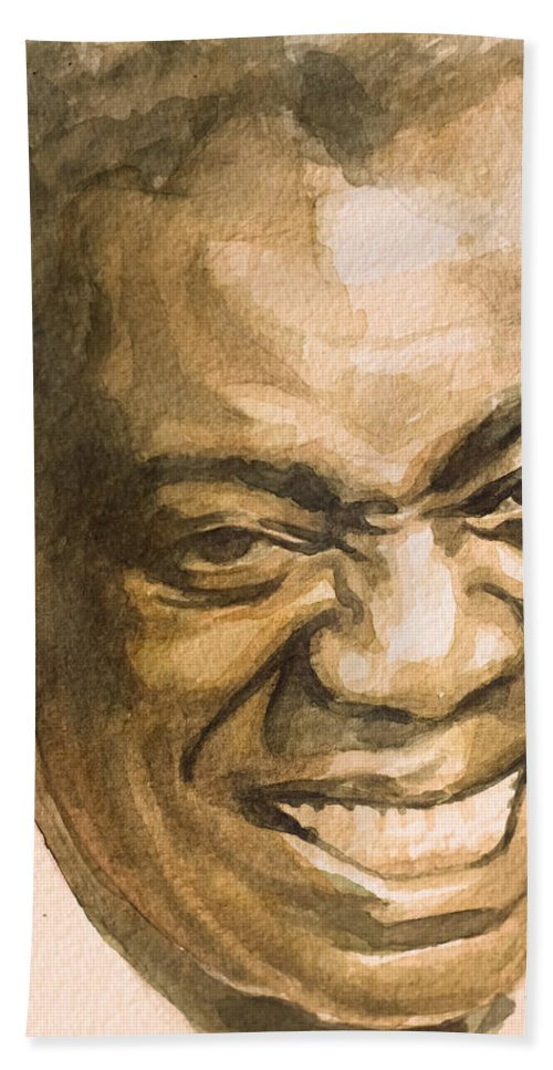 Louis Armstrong Hand Towel featuring the painting St. Louis Blues by Laur Iduc
