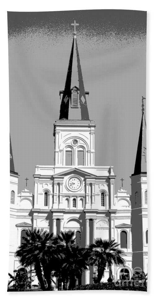 St. Louis Cathedral Bath Sheet featuring the digital art St Louis Cathedral Poster 1 by Alys Caviness-Gober