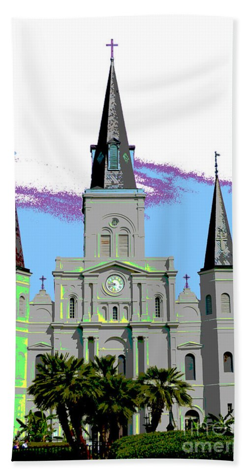 St. Louis Cathedral Bath Sheet featuring the digital art St Louis Cathedral Poster 2 by Alys Caviness-Gober