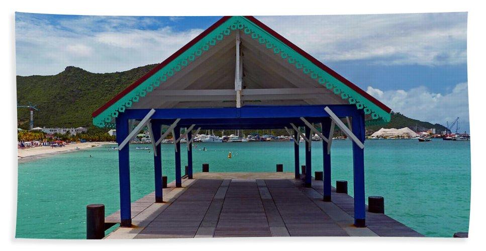 St. Maarten Bath Sheet featuring the photograph St. Maarten Pier by Marie Hicks