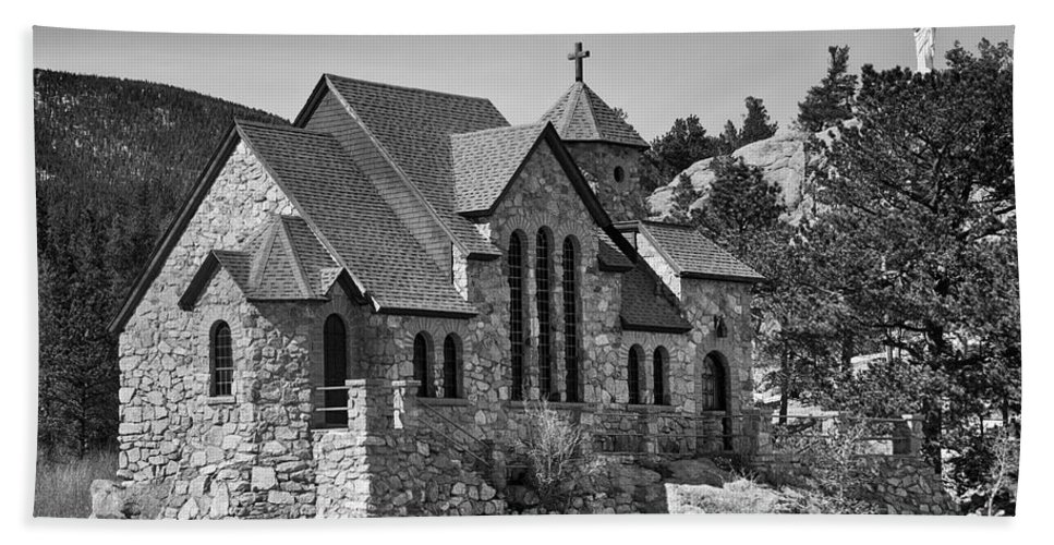 Chapel On The Rock Hand Towel featuring the photograph St Malo Chapel On The Rock Colorado Bw by James BO Insogna