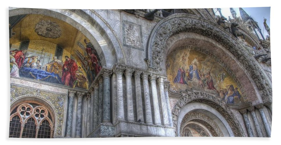 Venice Italy Bath Sheet featuring the photograph St Marks Entry - Venice Italy by Jon Berghoff