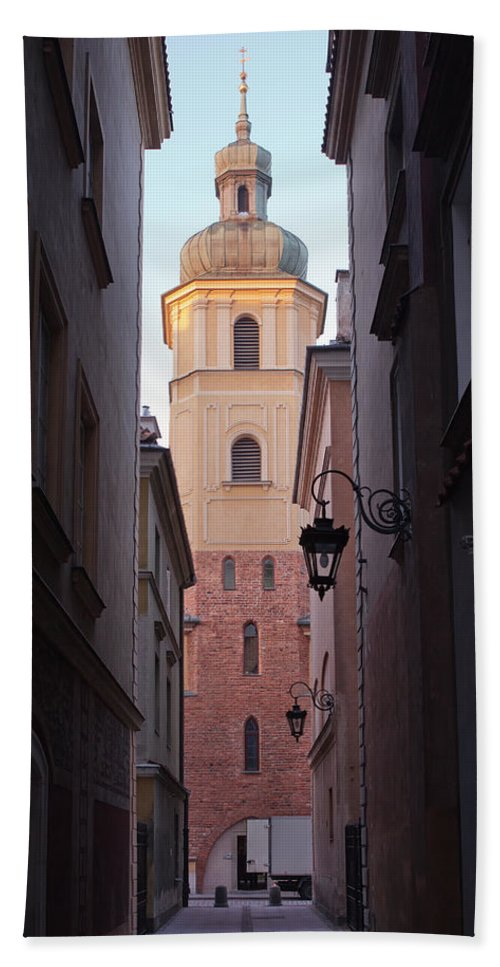 Architecture Bath Sheet featuring the photograph St. Martin's Church Bell Tower In Warsaw by Artur Bogacki