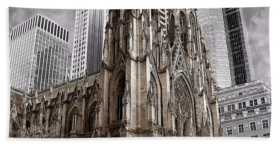 Cathedral Bath Sheet featuring the photograph St. Patricks Cathedral by David Dehner