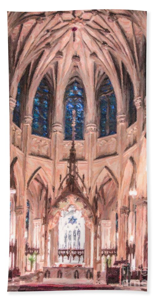 St Patrick's Cathedral Hand Towel featuring the digital art St Patricks Cathedral New York Usa by Liz Leyden