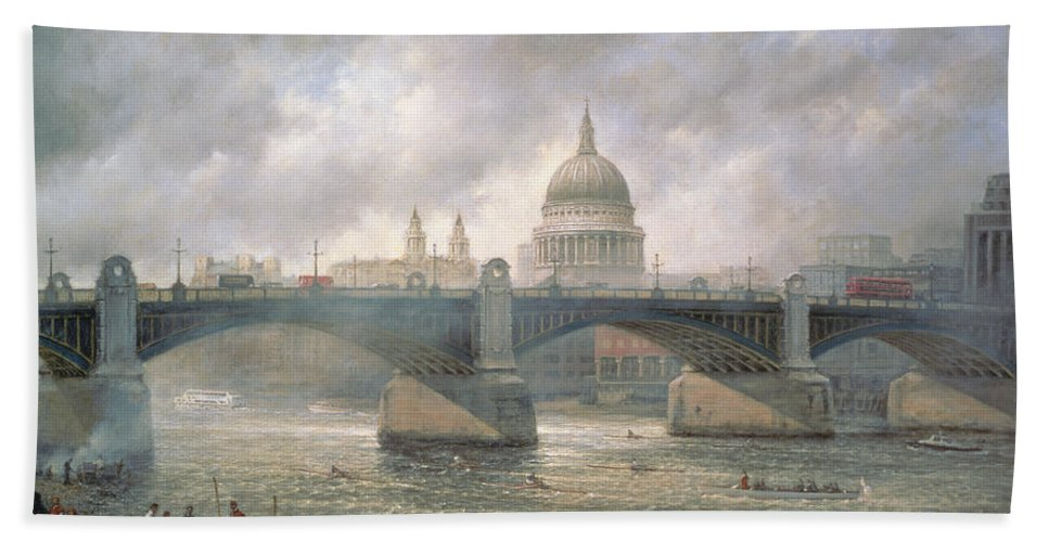 Thames Hand Towel featuring the painting St. Paul's Cathedral From The Southwark Bank by Richard Willis