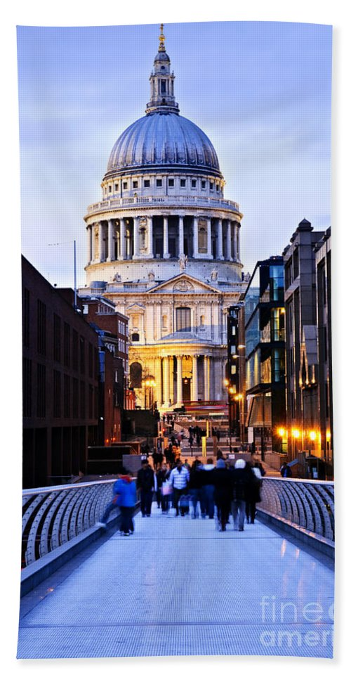 Saint Hand Towel featuring the photograph St. Paul's Cathedral London At Dusk by Elena Elisseeva