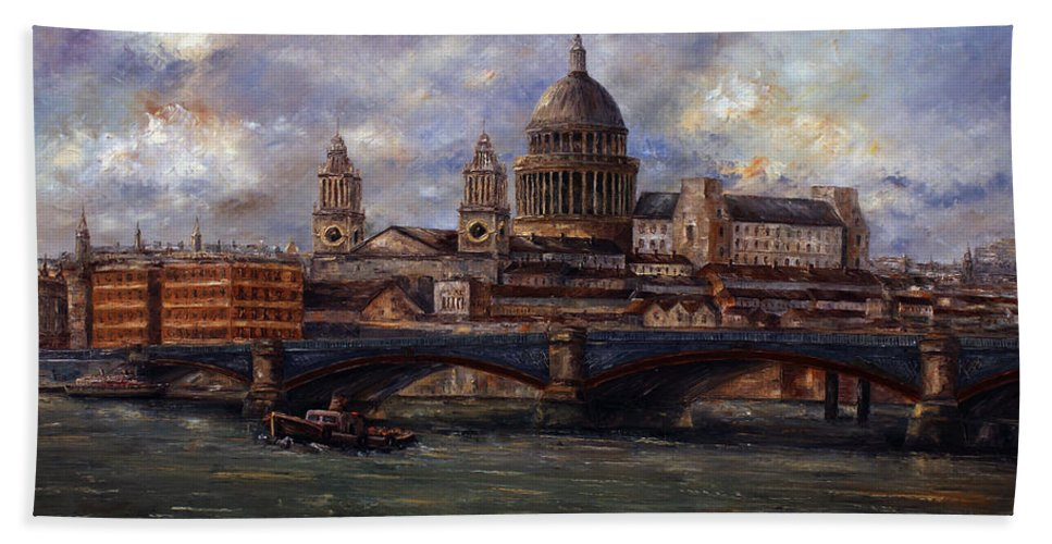 St. Paul's. St. Paul's Cathedral Hand Towel featuring the painting St. Paul's Cathedral - London by Miroslav Stojkovic - Miro