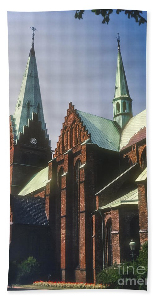 St. Peter Church Malmo Sweden Churches Steeple Steeples Place Places Of Worship Structure Structures Building Buildings Architecture Clock Tower Clocks Towers Hand Towel featuring the photograph St. Peter Church by Bob Phillips