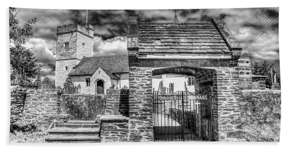 St Sannans Church Bath Sheet featuring the photograph St Sannans Church Bedwellty 4 Mono by Steve Purnell