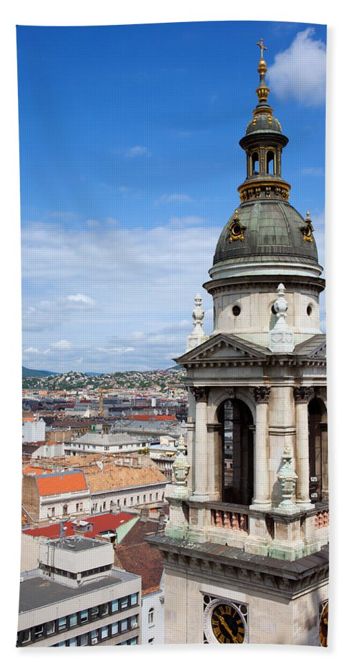 Saint Hand Towel featuring the photograph St Stephen's Basilica Bell Tower In Budapest by Artur Bogacki