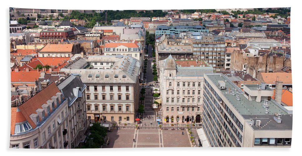 Budapest Bath Sheet featuring the photograph St Stephen's Square In Budapest by Artur Bogacki