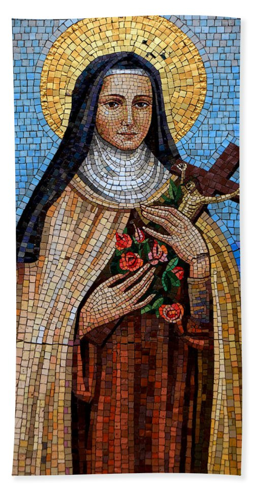 Mosaic Bath Sheet featuring the photograph St. Theresa Mosaic by Andrew Fare