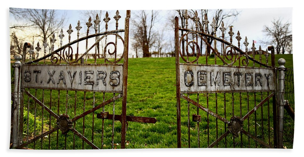 Cemetery Gate Bath Sheet featuring the photograph St. Xaviers Cemetery by Angie Harris
