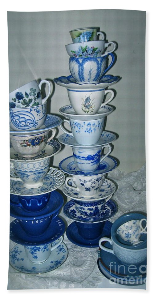 Stack Of Blue Tea Cups Bath Sheet featuring the photograph Stack Of Blue Teacups by Nancy Patterson