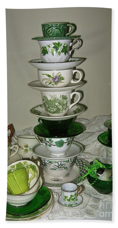 Stack Of Green Teacups Bath Sheet featuring the photograph Stack Of Green Teacups by Nancy Patterson